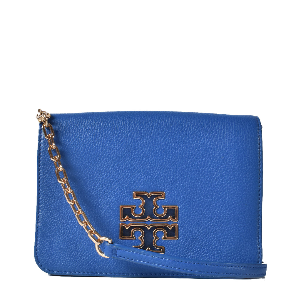 Tory Burch Blue Britten Leather Combo-Crossbody Bag