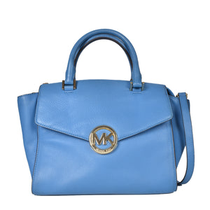 Michael Kors Hudson Heritage Blue Leather Satchel