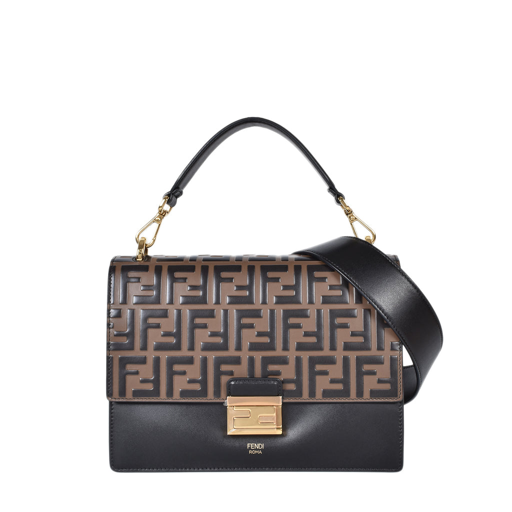 Fendi Medium Kan U Black Leather Bag