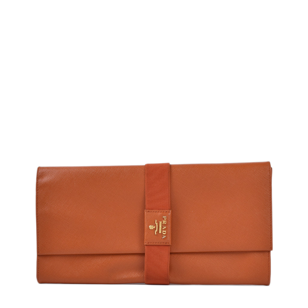 Prada Saffiano Papaya Clutch Bag