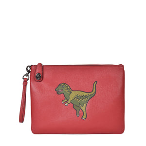 Coach Turnlock Pouch With Rexy in Red