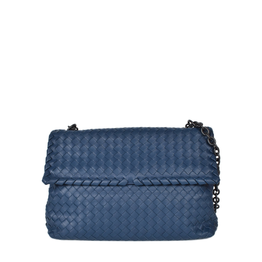 Bottega Veneta Medium Intrecciato Nappa Olimpia Bag in Pacific Blue