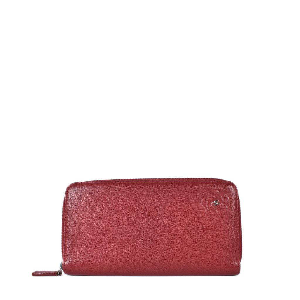 Chanel Red Camelia Long Zippy Wallet SHW