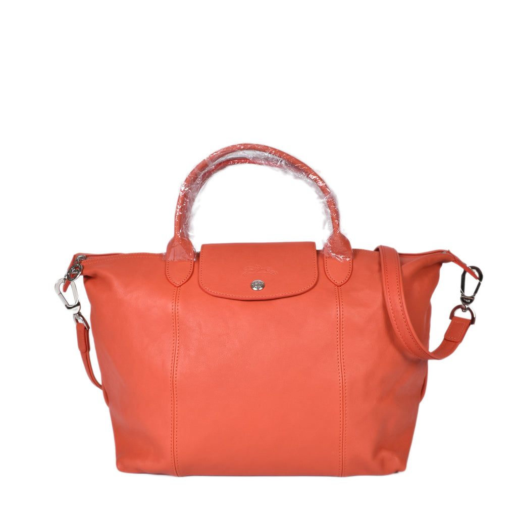 Longchamp Medium Le Pliage Cuir Travel Bag in Sienna (Dark Orange)