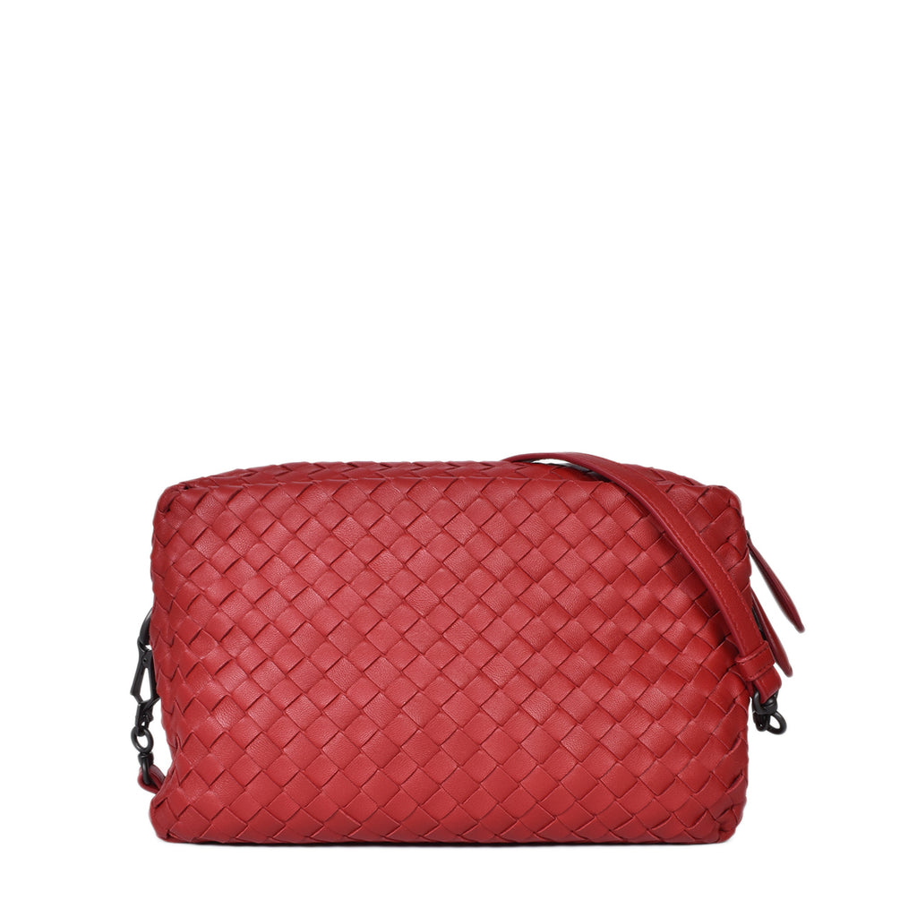 Bottega Veneta China Red Intrecciato Nappa Crossbody Bag