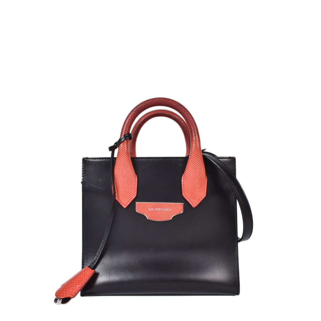 Balenciaga Leather & Snakeskin Mini All Afternoon Tote in Red / Black