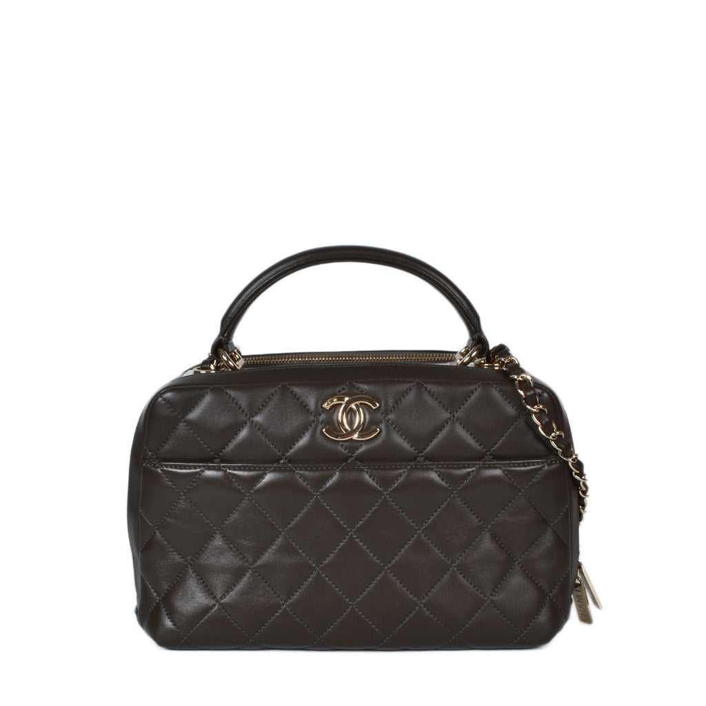 Chanel Dark Olive Green Quilted Lambskin Leather Trendy CC Bowling Bag GHW