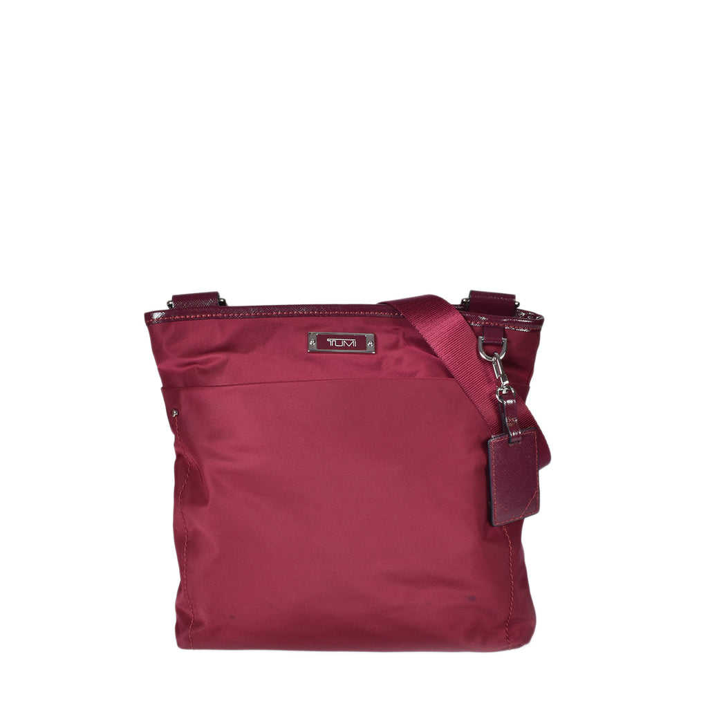 Tumi Maroon Nylon Crossbody Bag