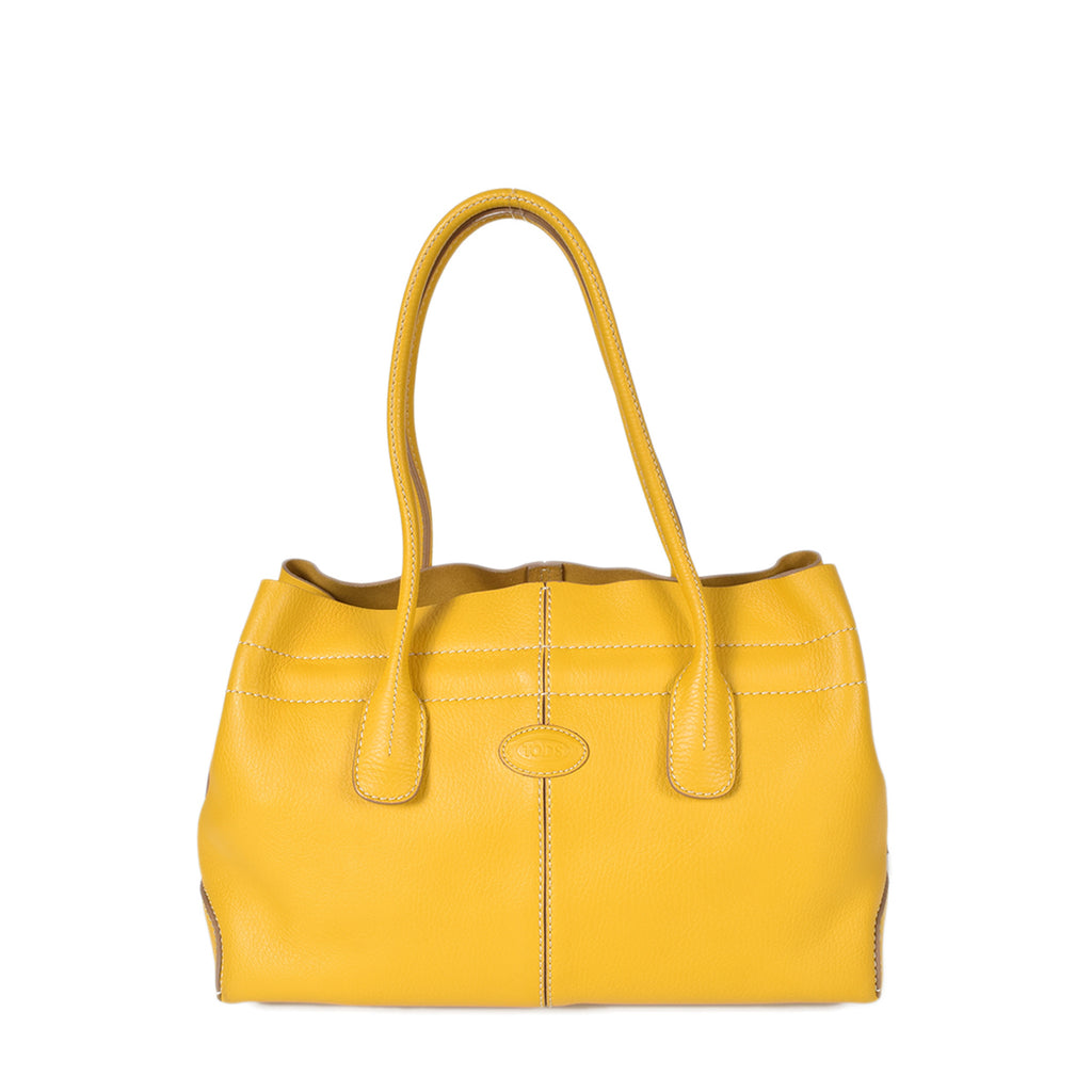 Tod's D-Bag Grained Leather Shopping Bag in Yellow