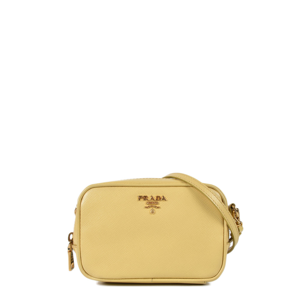Prada Yellow Saffiano Leather Crossbody Pochette Bag