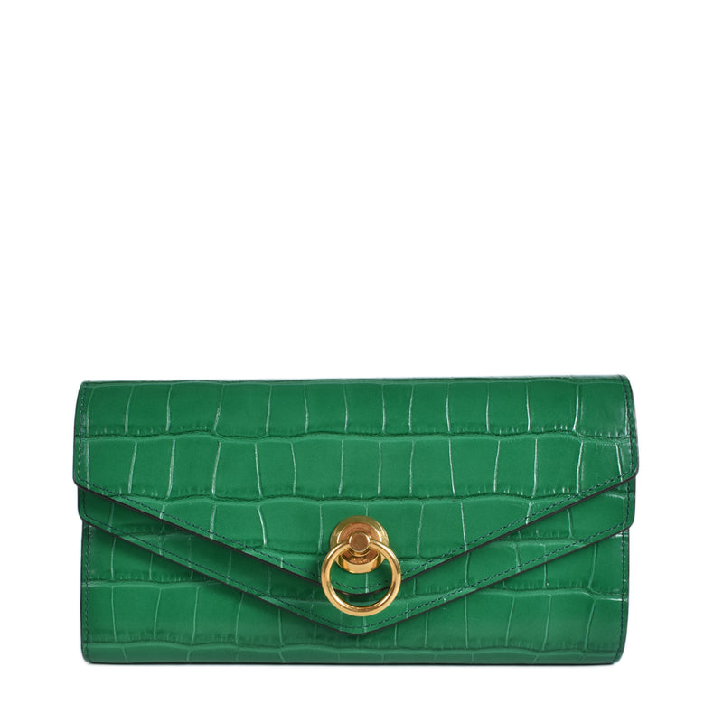 Mulberry Harlow Long Wallet Shiny Croc in Emerald Green
