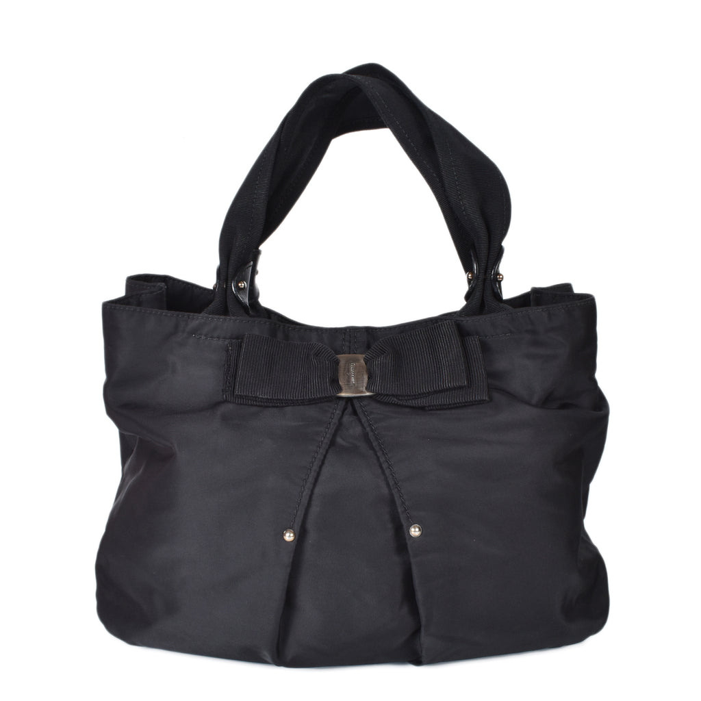 Salvatore Ferragamo Black Nylon Vara Bow Logo Tote Bag