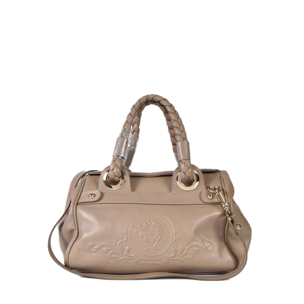 Versace Leather Satchel in Taupe