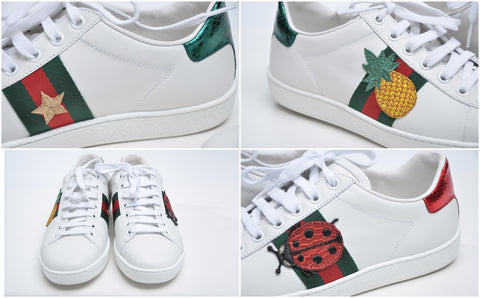 Gucci Ace Sneakers in White / Pineapple / Ladybug