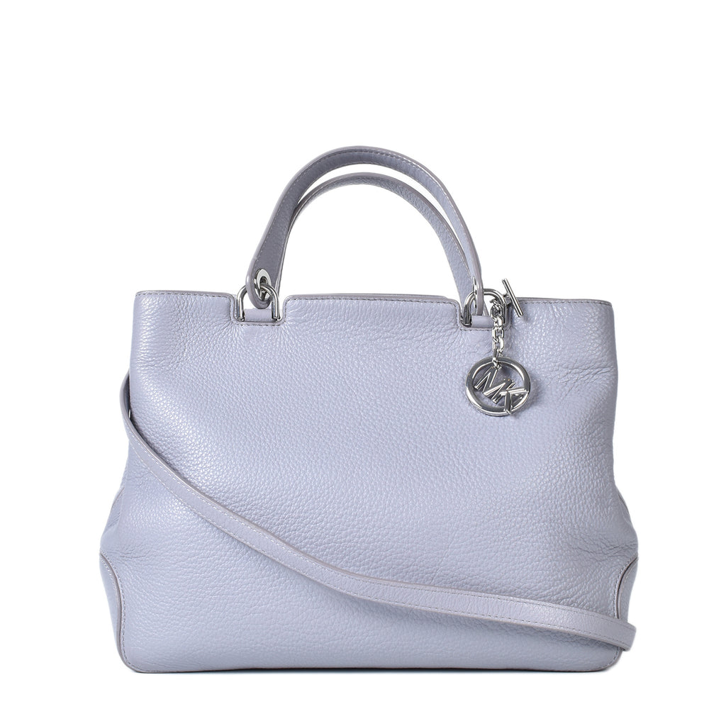 Michael Kors Medium Anabelle Top Zip Leather Tote in Grey