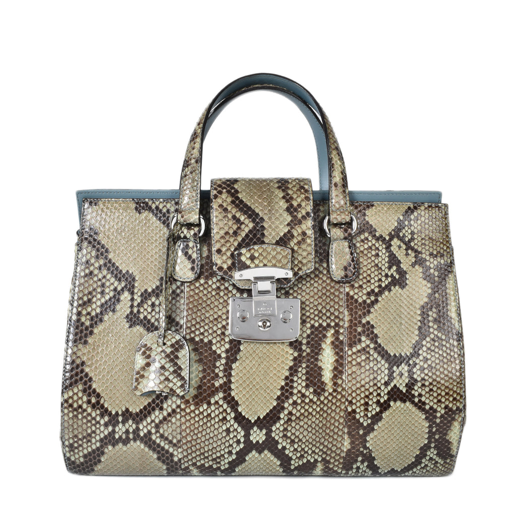 Gucci Green Python Lady Lock Large Top Handle Bag