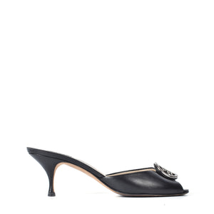 Bally Open Toe Kitten Heel Mules in Black