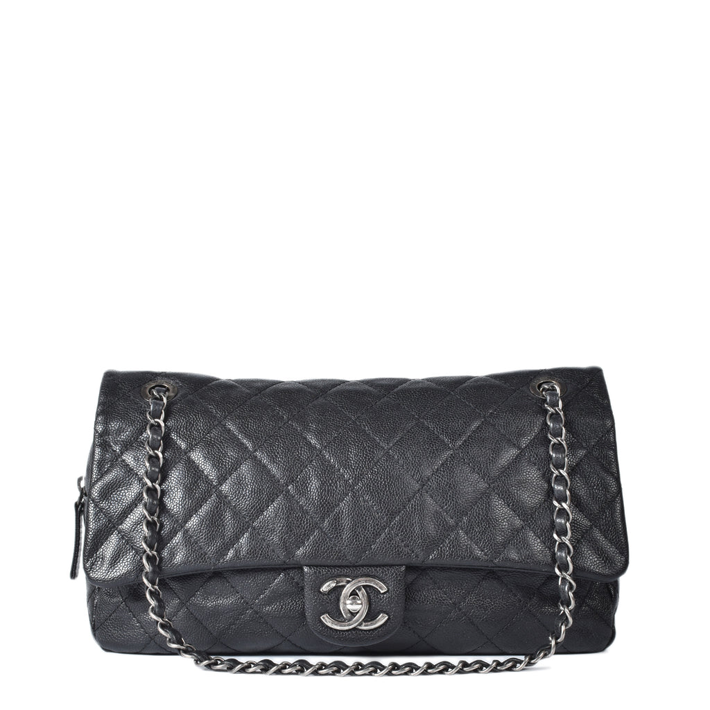 Chanel Black Quilted Caviar Leather Easy Jumbo Flap Bag RHW