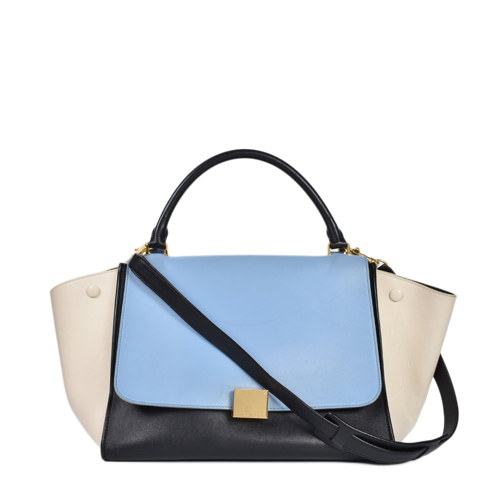 Celine Trapeze Glacier/Black/White Tricolor Medium Blue Leather Tote