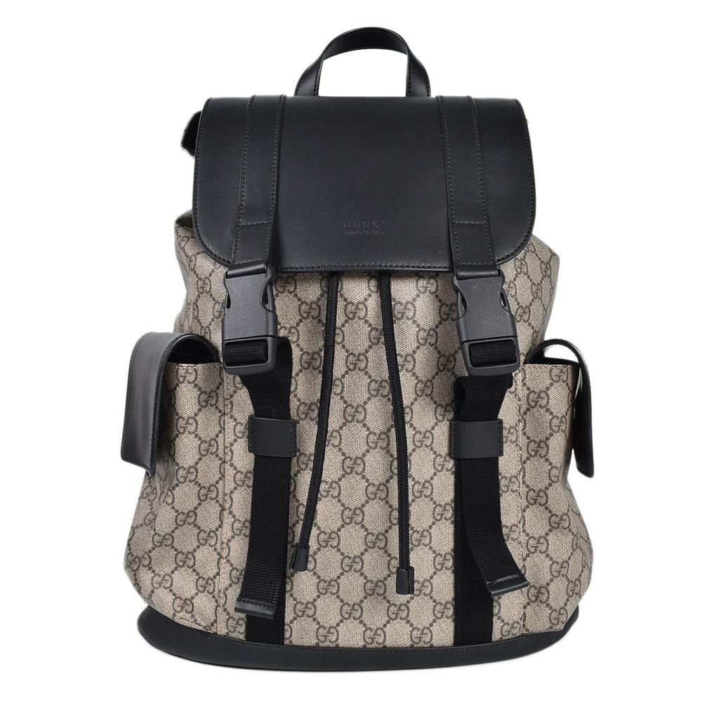 Gucci Soft GG Supreme Monogram Backpack in Black/Brown