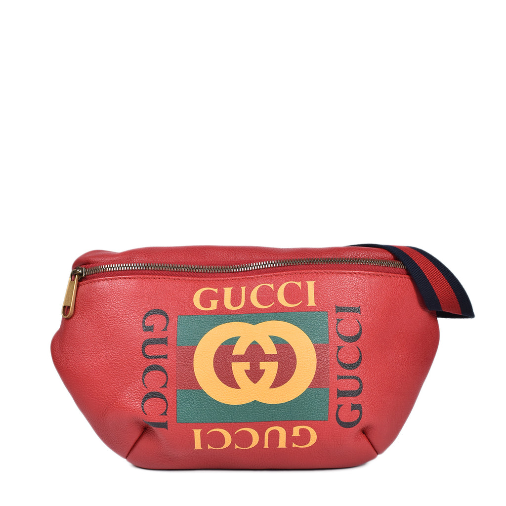 Gucci Red Leather Retro Print GUCCI Belt Bag