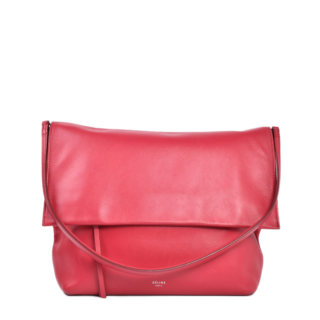 Celine Clasp Smooth Calfskin Dark Pink Flap Shoulder Bag