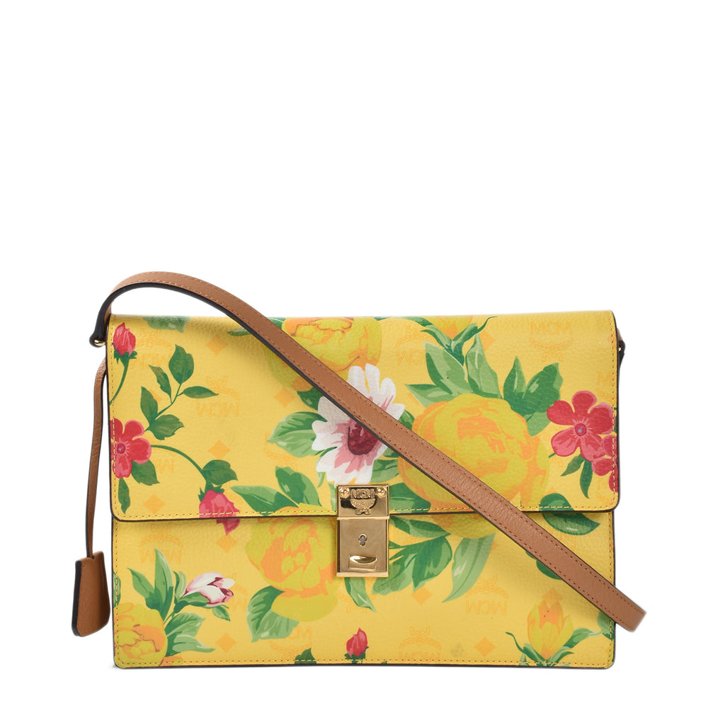 MCM Yellow Visetos Paradiso Leather Crossbody Bag