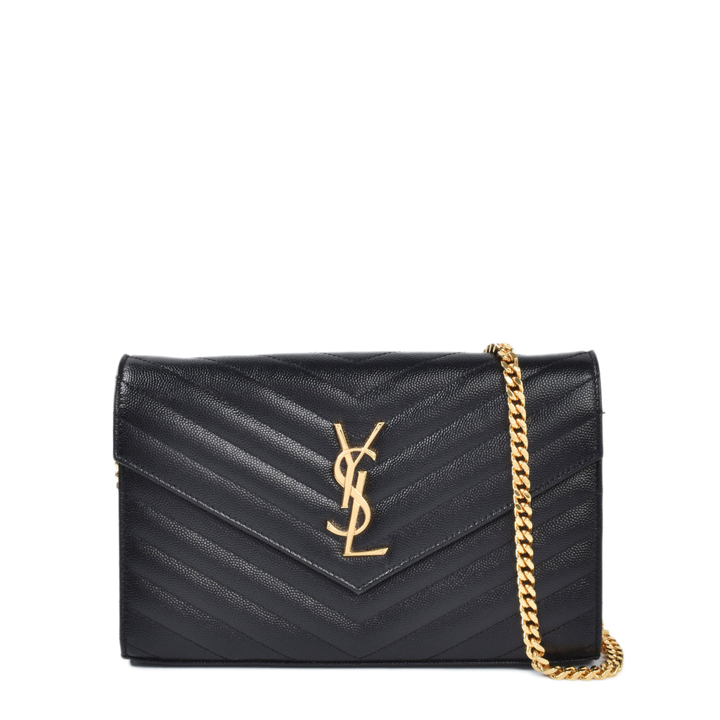 Saint Laurent Monogram Chain Wallet In Grain De Poudre Embossed Leather in Black GHW