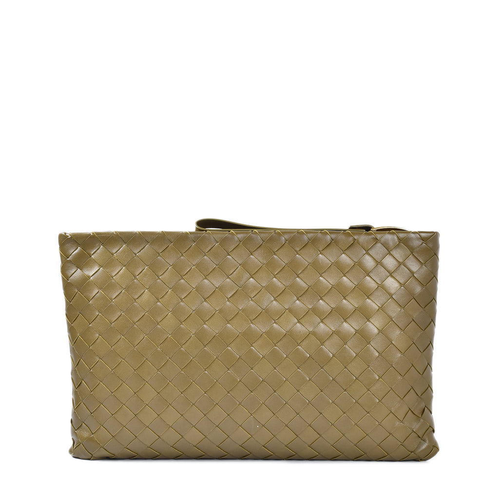 Bottega Khaki Intrecciato Leather Weave Clutch B08705923K