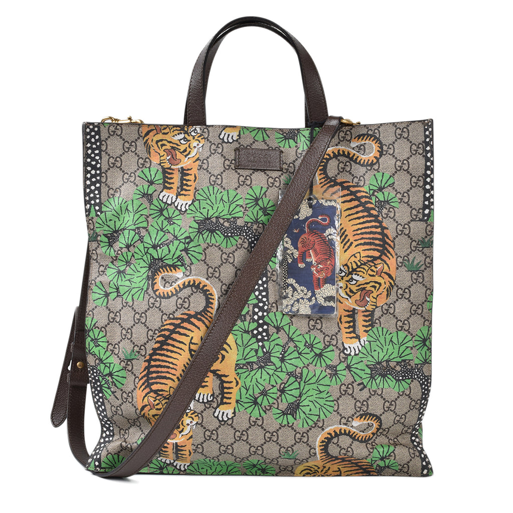 Gucci GG Supreme Coated Canvas Tiger Print Tote