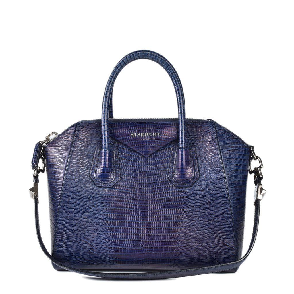 Givenchy Lizard Embossed Blue Small Antigona Bag