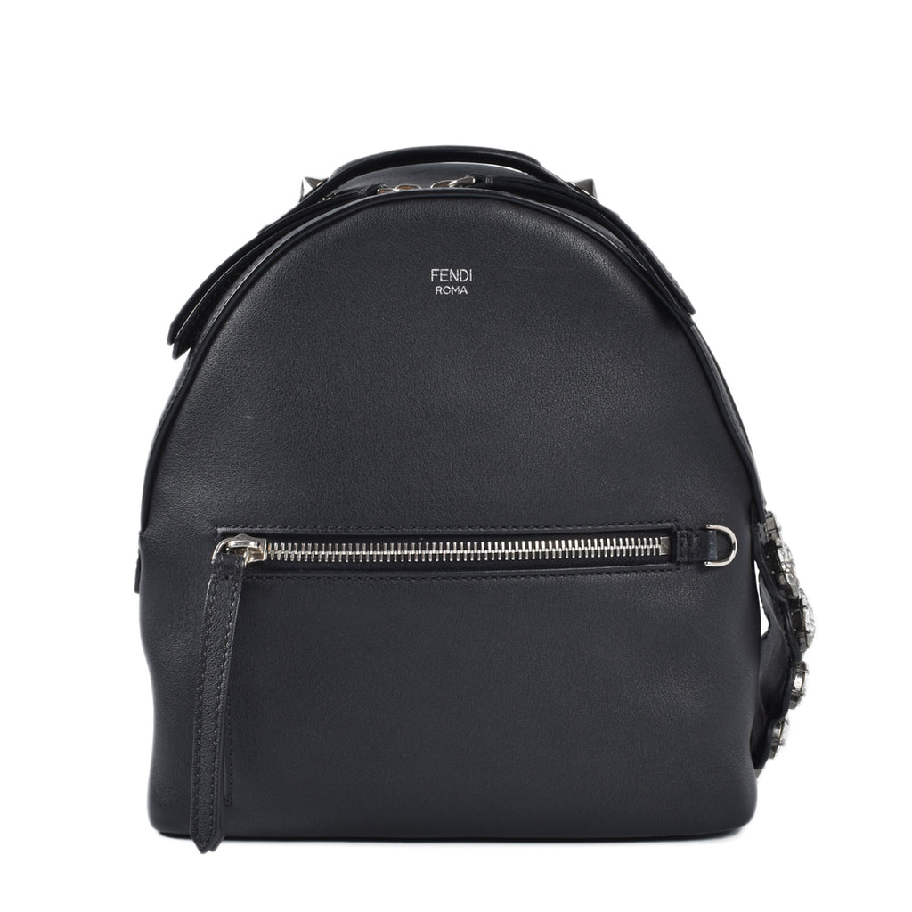Fendi Mini Crystal Embellished Croc Tail Backpack in Black