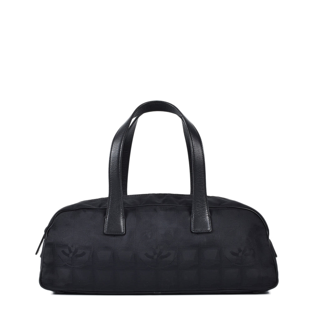 Chanel Vintage Black Travel Ligne Bowler Bag