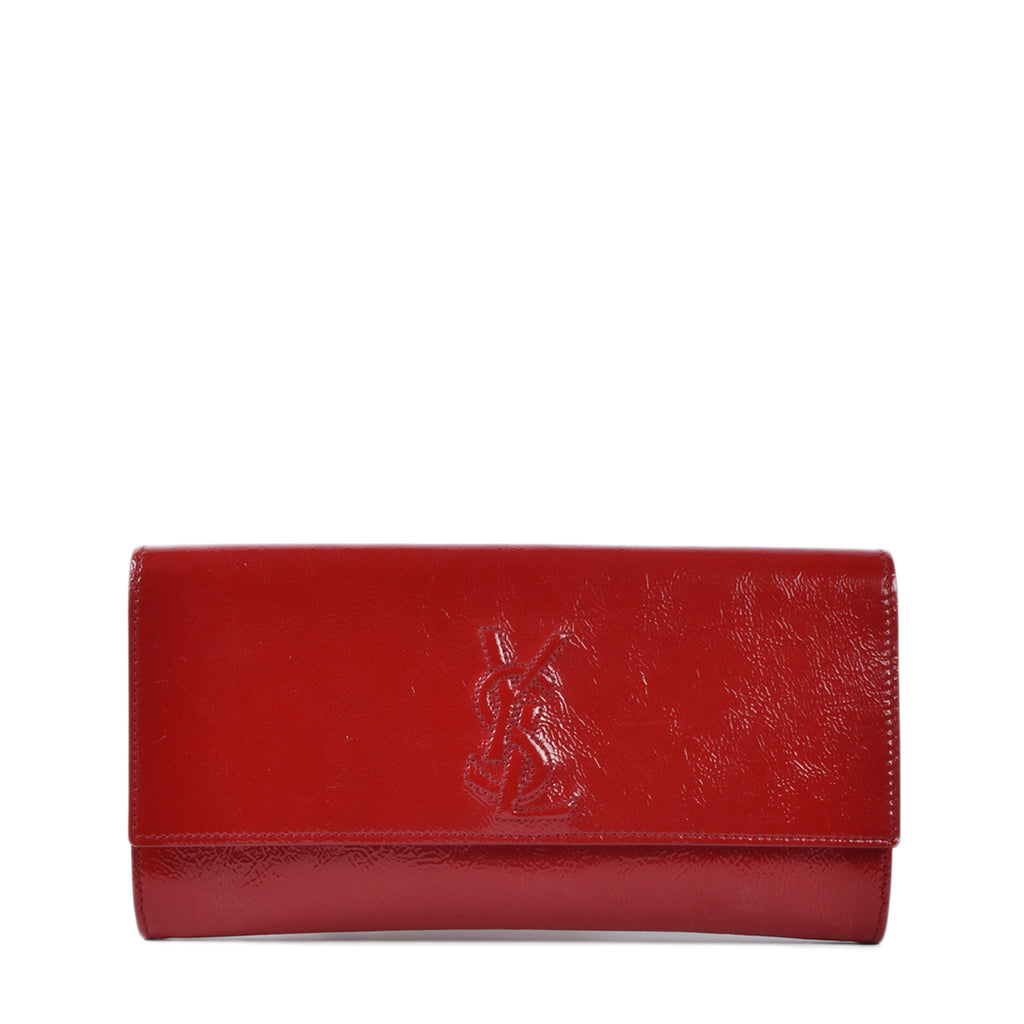 Yves Saint Laurent Red Crinkled Patent Leather Small Belle de Jour Clutch Bag