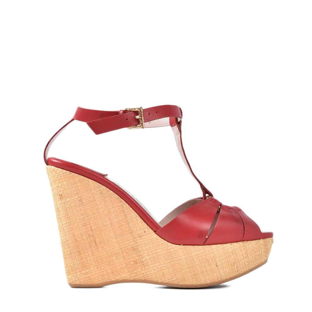 Salvatore Ferragamo Red Leather T-Strap Platform Wedge Sandals