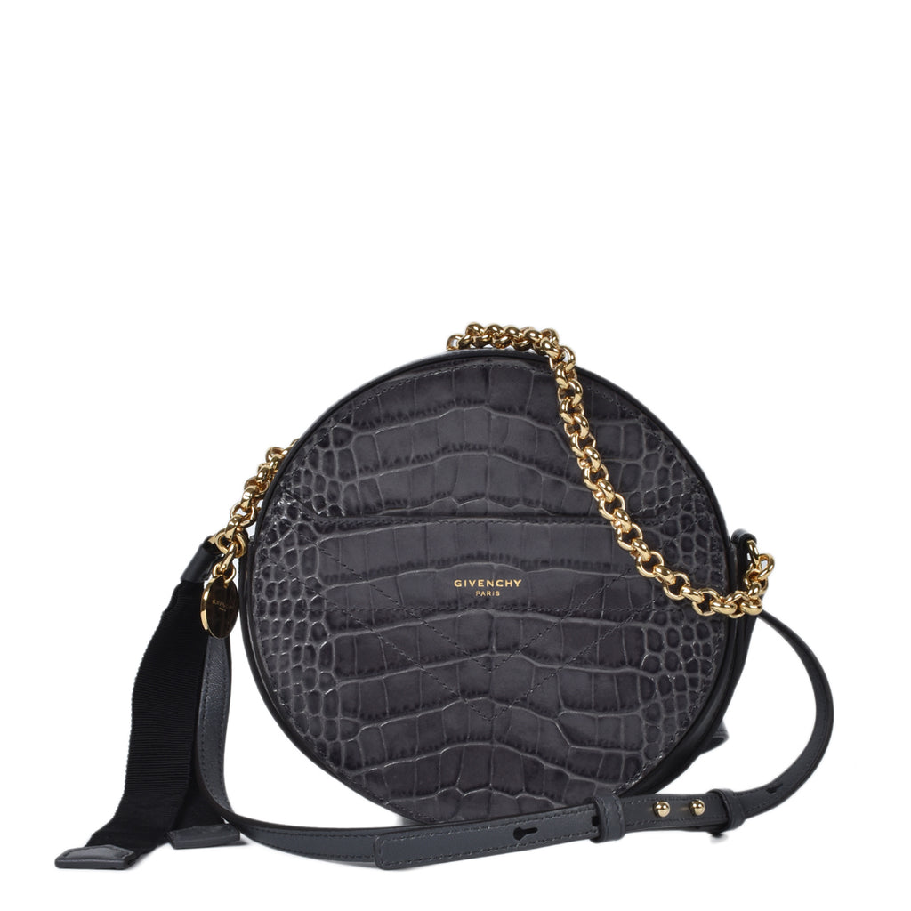 Givenchy Grey Croc Embossed Eden Round Crossbody Bag