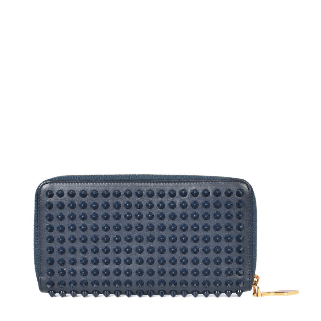 Christian Louboutin Dark Blue Leather Panettone Spikes Zip-Around Wallet