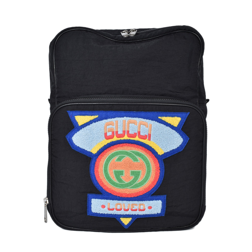 Gucci Nylon Twill 80s Logo Patch Backpack Black