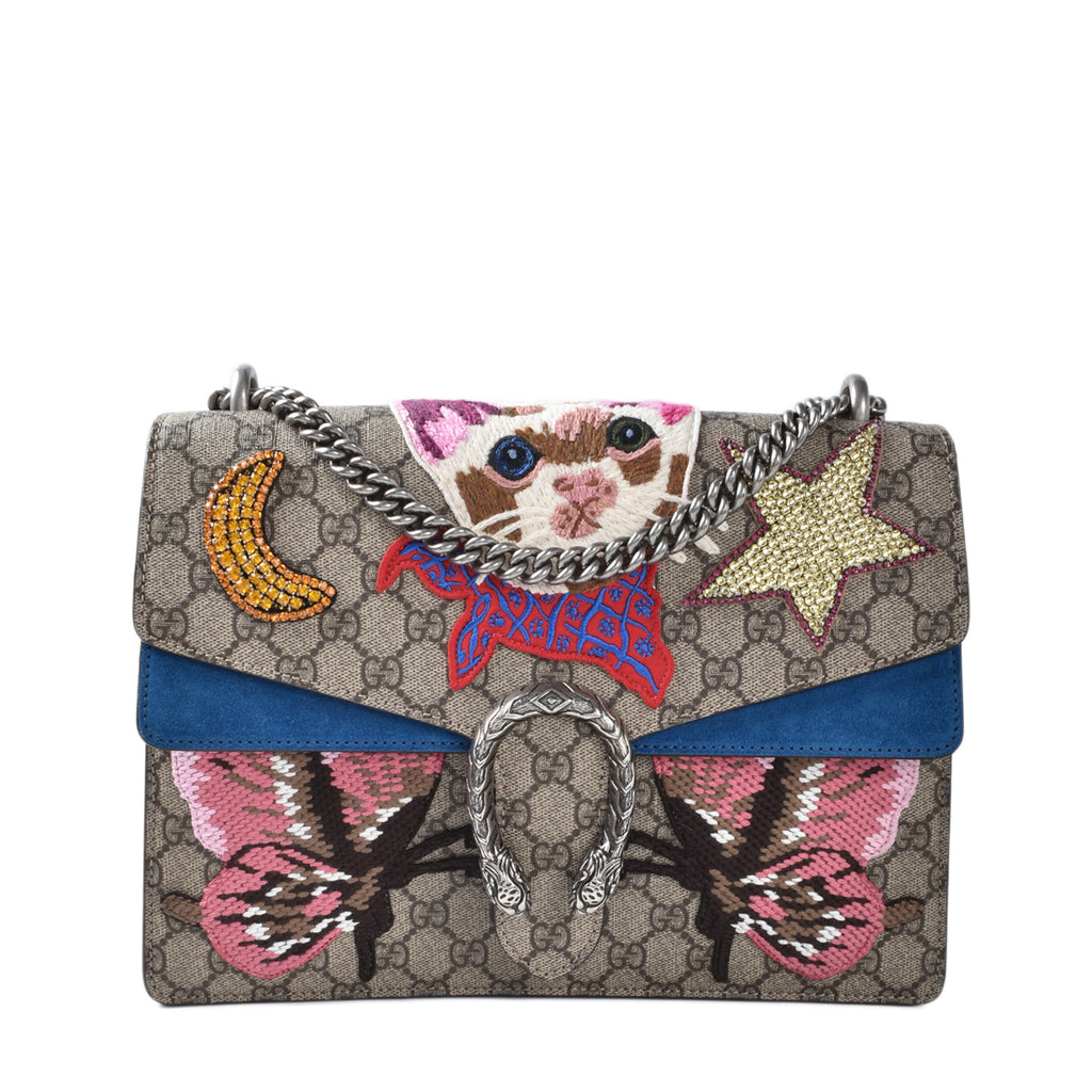 Gucci Dionysus Embroidered Greek Cat and Butterfly Shoulder Bag
