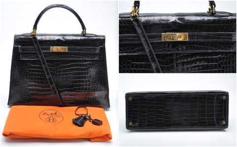 Vintage Kelly 32 Crocodile Porosus