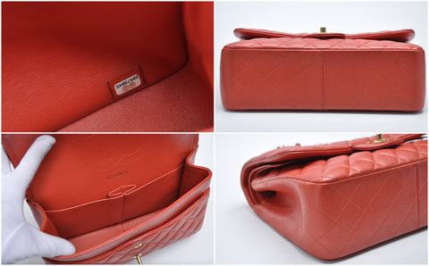 Jumbo Reddish Orange Caviar Flap GHW