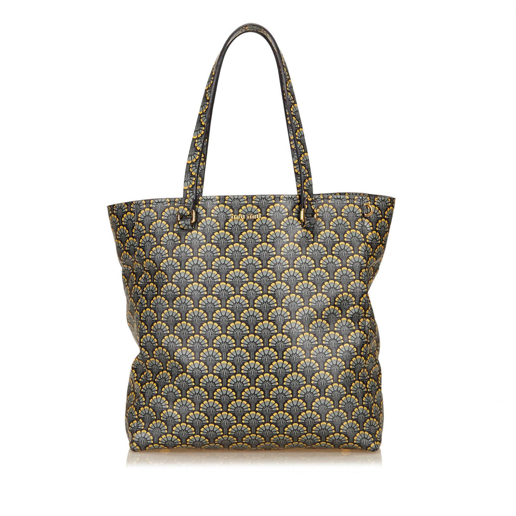 Miu Miu Printed Leather Madras Blue Tote