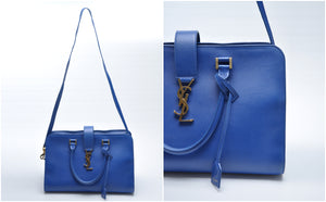 YSL Calfskin Large Cabas in Blue