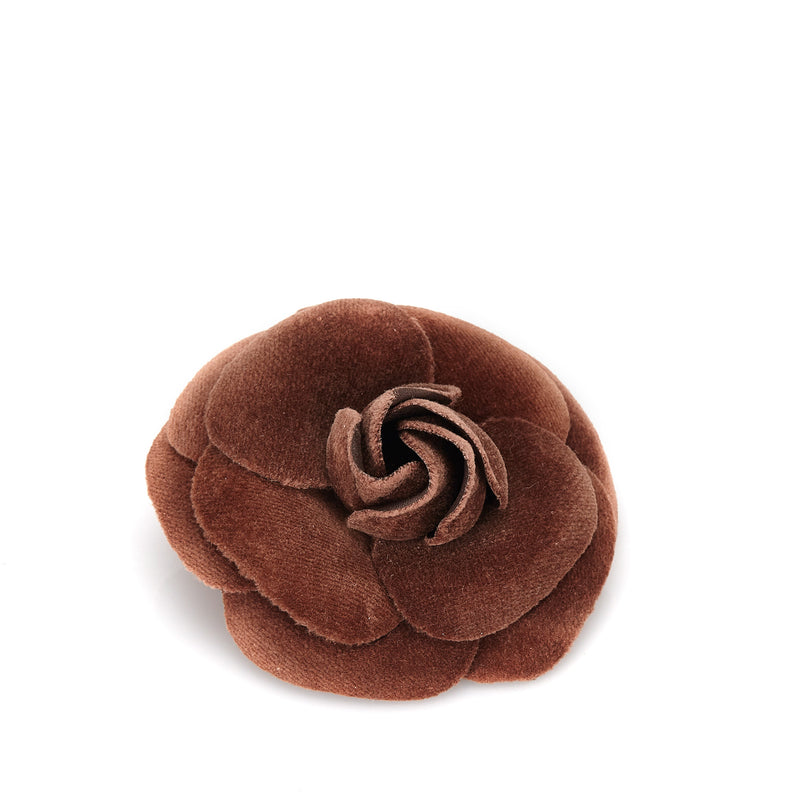 Chanel Brown Velour Camellia Brooch