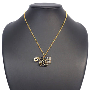 Chanel CC Flap Charm Necklace in Gold x Black