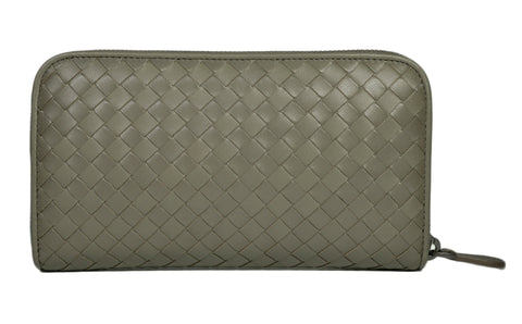 Bottega Veneta Intrecciato Long Zippy Wallet in Grey - Glampot