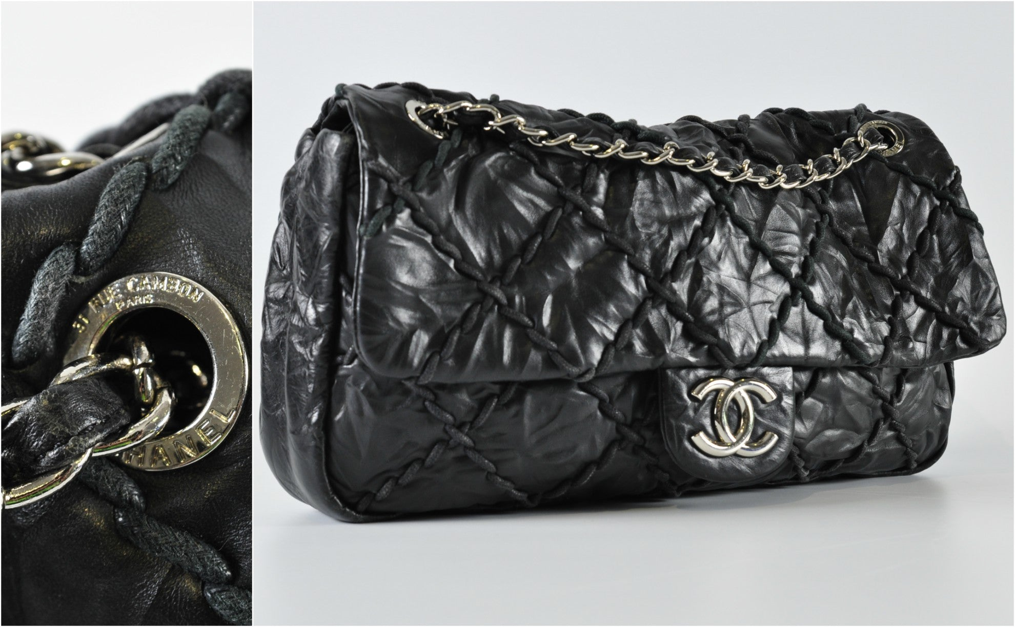 Chanel Black Quilted Calfskin Leather Ultra Stitch Jumbo Flap Bag - Glampot
