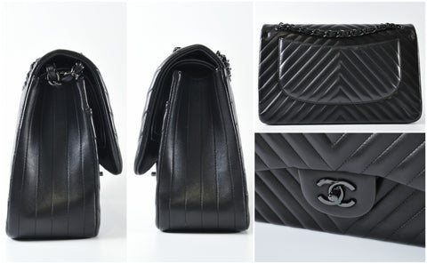 So Black Chevron Jumbo Double Flap Bag