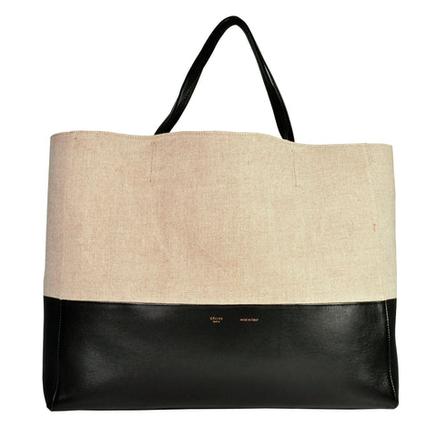 Celine Bi-Cabas Two Tone Horizontal Tote Beige Canvas / Leather - Glampot