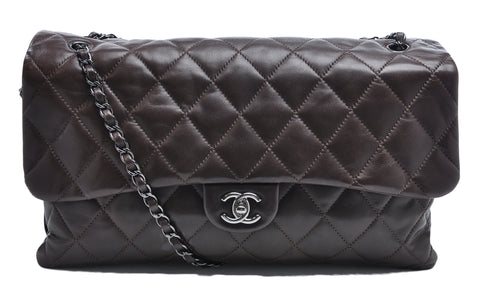 ea99fff0c257 Previous. Chanel Dark Brown Quilted Lambskin Leather 3 Accordion Maxi Flap  Bag ...